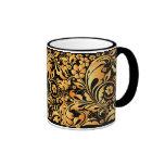 gold floral pattern ringer coffee mug