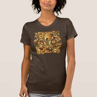 gold floral pattern t shirt