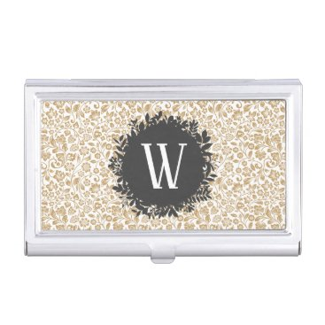 Professional Business Gold Floral Pattern with Dark Gray Circle Monogram Business Card Holder