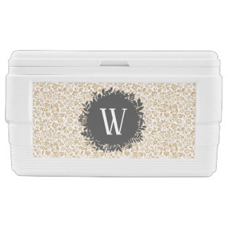 Gold Floral Pattern with Dark Gray Circle Monogram Ice Chest