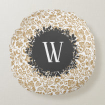 Gold Floral Pattern with Dark Gray Circle Monogram Round Pillow