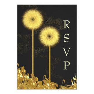 "Gold Floral Puffs RSVP Card 3.5"" X 5"" Invitation Card"