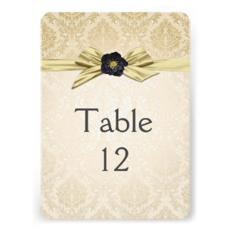 Gold Floral Ribbon Gold Damask Table card