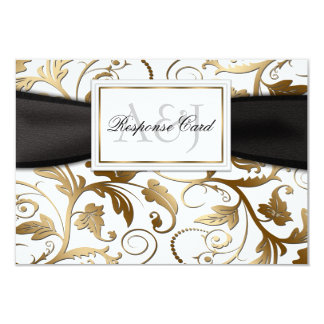 Gold Floral RSVP with Black Bow Card