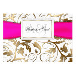 Gold Floral RSVP with Fuchsia Bow Announcements