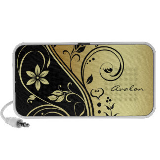 Gold Floral Scroll Portable Music Speaker