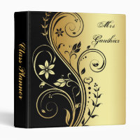 Gold Floral Scroll Teachers Class Planner Binder