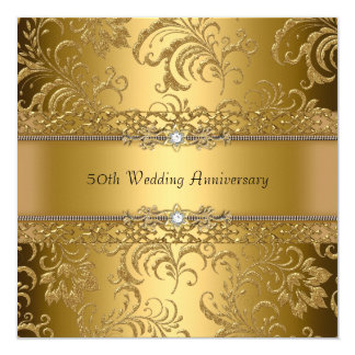 Gold Floral Swirl 50th Wedding Anniversary Invite