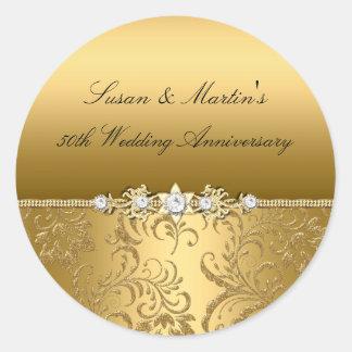 Gold Floral Swirl 50th Wedding Anniversary Sticker