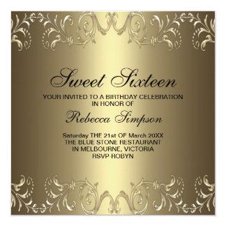 Gold Floral Swirl Sweet 16 Birthday Invitation
