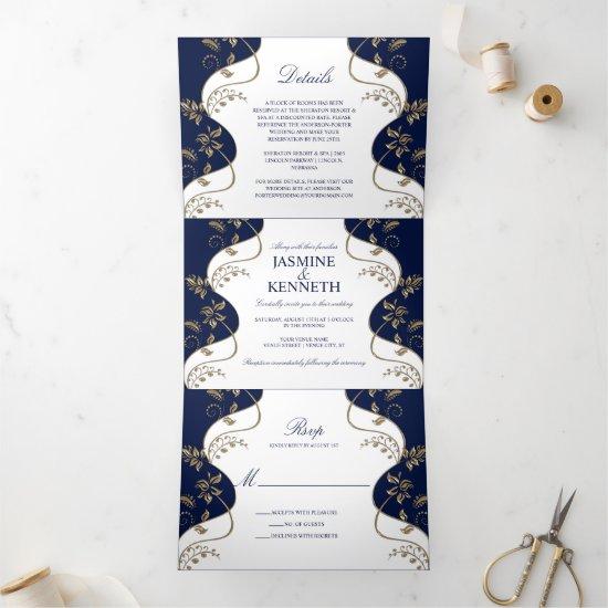 Gold Floral Swirls on Navy and White Wedding Tri-Fold Invitation