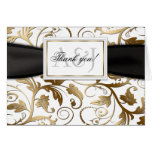 Gold Floral Thank You Card with Black Bow