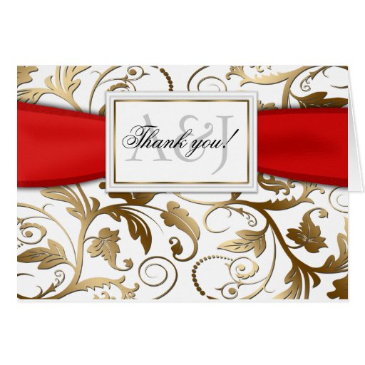 Gold Floral Thank You Card with Red Bow