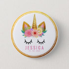 Gold Floral Unicorn Party Button