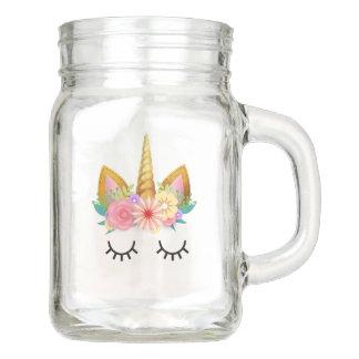 Gold Floral Unicorn Party Mason Jar