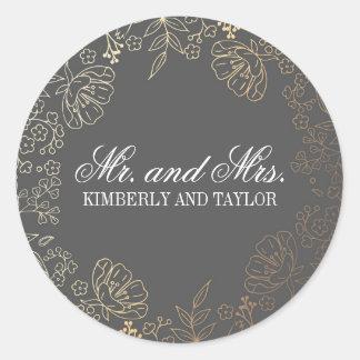 Gold Floral Vintage Grey Wedding Monogram Classic Round Sticker
