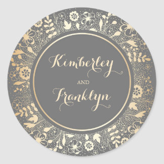 Gold Floral Vintage Wedding Classic Round Sticker