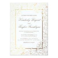 Gold Floral White Vintage Wedding Invitation
