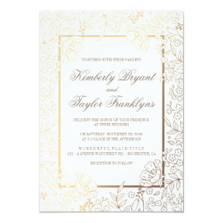 gold floral white vintage wedding invitation - White And Gold Wedding Invitations