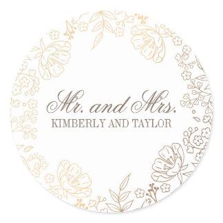 Gold Floral White Vintage Wedding Monogram Classic Round Sticker