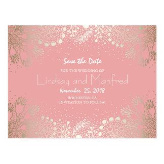 Gold Floral - Wonderland Garden Save the Date Postcard