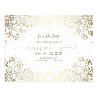 Gold Floral Wonderland White Save the Date Postcard