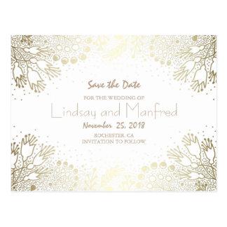 Gold Floral Wonderland White Save the Date Postcard
