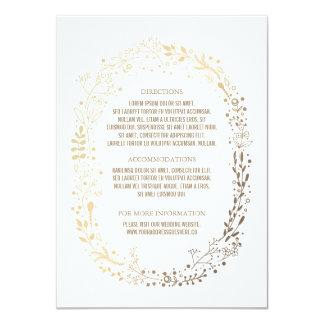 Gold Floral Wreath Elegant Bouquet Wedding Details Card