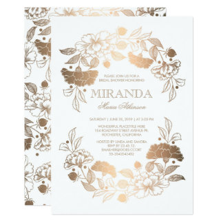 Gold Floral Wreath Elegant White Bridal Shower Card