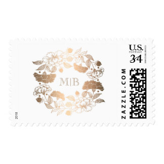 Gold Floral Wreath Monogram Wedding Postage
