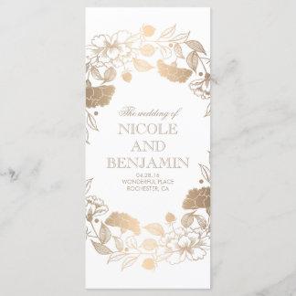 Gold Floral Wreath Peonies Garden Wedding Programs