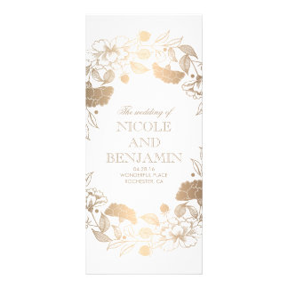Gold Floral Wreath Peonies Garden Wedding Programs