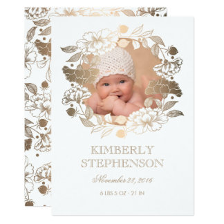 Gold Floral Wreath Sweet Newborn Baby Photo Birth Card