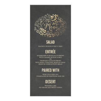 Gold Florals wedding menu cards