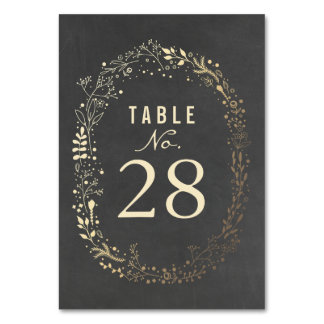 Gold Florals Wedding Table Numbers Card