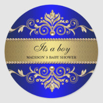 Gold Flourish Blue Elegant Baby Shower Its A Boy Classic Round Sticker