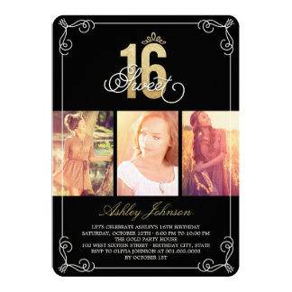Gold Flourish Glam Sweet 16 Photo Birthday Party 5x7 Paper Invitation Card