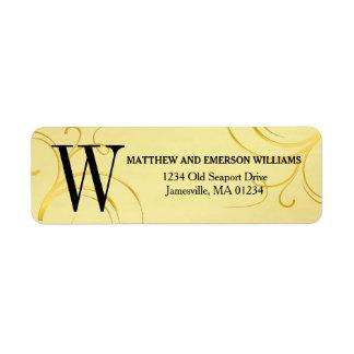 Gold Flourish Monogram Return Address Labels