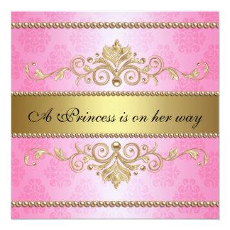 Gold Flourish Pattern Pink Girl Baby Shower Card
