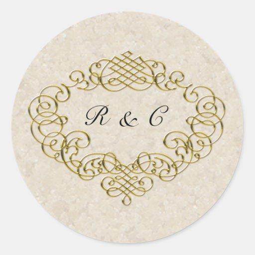 gold flourish wedding envelope seals sticker zazzle