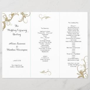 gold flourish white tri fold wedding program