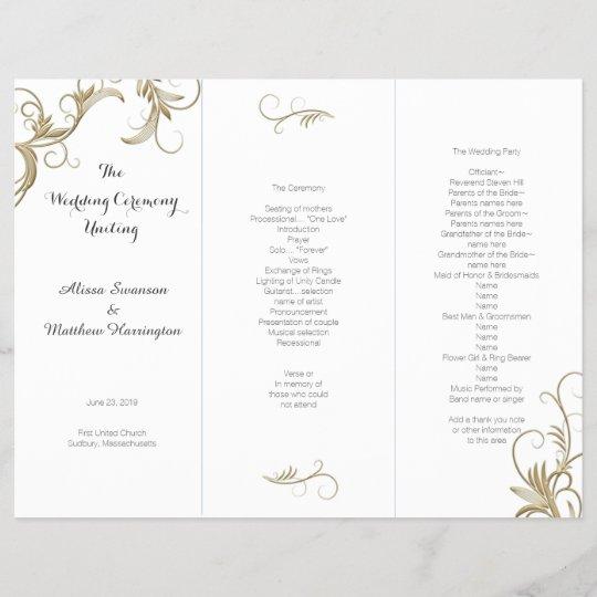 gold flourish white tri fold wedding program zazzle com