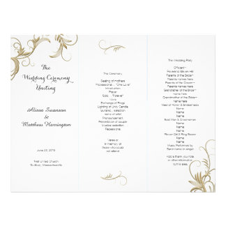 Gold Flourish White Tri-Fold Wedding Program