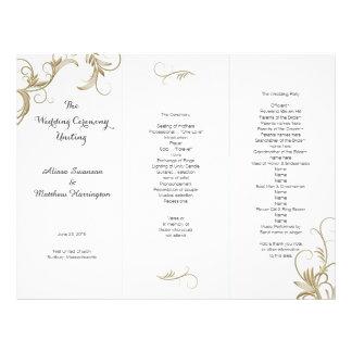 Gold Flourish White Tri-Fold Wedding Program