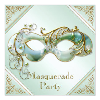 Gold Flourishes Mask Masquerade Party Mint Green Card