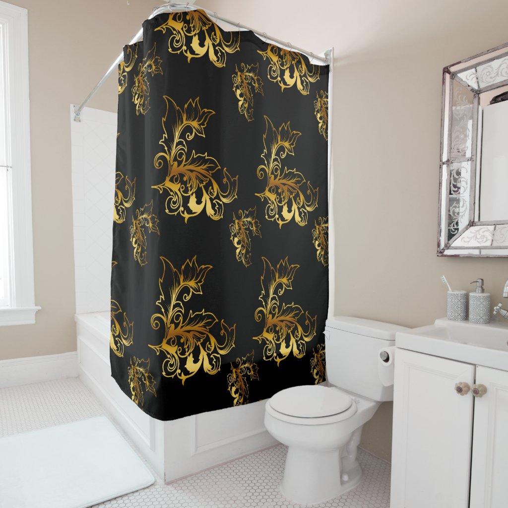Gold Flourishes on Black Shower Curtain
