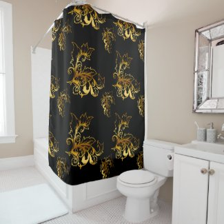 Gold Flourishes on Black Shower Curtain
