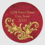 Gold Flourishes Return Address Envelope Seal Sticker