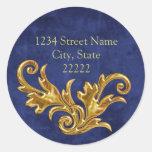 Gold Flourishes Return Address Envelope Seal Round Stickers