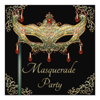 Gold Flourishes Ruby Mask Black Masquerade Party Card